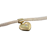 "SALE 14K Diamond Heart Pendant Two Tone Woven Link Necklace 16"" Yellow/White Gold"