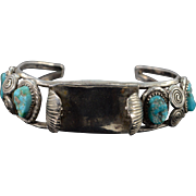 "SALE Sterling Silver Native American Popcorn Turquoise Watch Holder Bracelet 2.25"" Wide"
