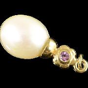 14K 8mm Pearl & Pink Tourmaline Charm/Pendant Yellow Gold