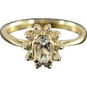 10K 0.55 CTW Aquamarine & Diamond Halo Ring Size 6.75 Yellow Gold