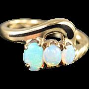 10K 0.75 CTW Opal & Black Enamel Ring Size 5 Yellow Gold