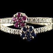 SALE 18K 0.50 Blue & Pink Sapphire Diamond Split Shank Ring Size 7 White Gold