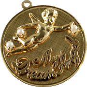 "14K 2.5mm Pearls ""My Dream Angel"" Disc Charm/Pendant Yellow Gold"