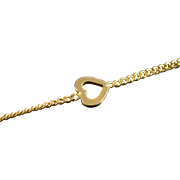 "14K Heart Link Bracelet 6.5"" Yellow Gold"
