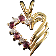 SALE 14K 0.12 CTW Garnet Diamond Heart Pendant Yellow Gold