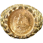 14K 1945 Mexican 2 Peso Nugget Ring Size 6.75, Yellow Gold