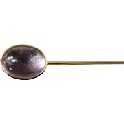 SALE 14K 1.50 CT Cabochon Amethyst Vintage Stick Pin Yellow Gold