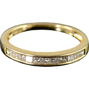 SALE 14K 0.33 CTW Princess Cut Diamond Wedding Band Ring Size 7 Yellow Gold