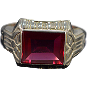 SALE 14K Antique Red Glass Ring - Size 6 / White Gold