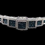 "SALE Sterling Silver 1.00 CTW Blue & White Diamond Bangle Bracelet 2.6"""