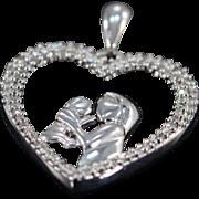 10K 0.30 Ctw Diamond Mother & Child Heart Pendant White Gold