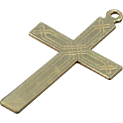 SALE 14K Etched Celtic Cross Pendant Yellow Gold