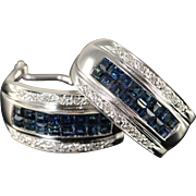 14K 2.14 CTW Sapphire Diamond French Clip Earrings White Gold