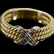 SALE 14K 0.09 CTW Diamond Criss Cross Rope Motif Ring - Size 8.5 / Yellow ...