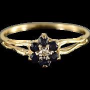 SALE 10K 0.31 CTW Sapphire Diamond Flower Halo Ring Size 8.25 Yellow Gold