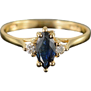 SALE 14K 0.56 CTW Marquise Sapphire Engagement Ring Size 6.5 Yellow Gold
