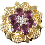 SALE 14K 0.50 CTW Rhodolite Garnet Diamond Flower Slide Bracelet Charm/Pendant Yellow Gold
