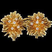 SALE 18K Tiffany & Co 0.50 CTW Diamond Aster Flower Earrings Yellow Gold
