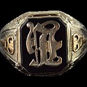 SALE 10K Vintage Monogram Letter H F R Ornate Ring Size 9.25 Yellow Gold