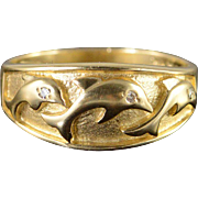 SALE 10K Diamond Eyed Three Jumping Dolphin Band Ring Size 7 Yellow Gold