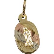 SALE 10K Virgin Mary Religious Icon Tri Color Charm/Pendant Yellow Gold