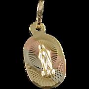 10K Virgin Mary Religious Icon Tri Color Charm/Pendant Yellow Gold