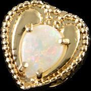 14K Heart Opal Slide Bracelet Charm/Pendant Yellow Gold
