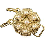 SALE 14K Seed Pearl Flower Slide Bracelet Clasp Charm/Pendant Yellow Gold