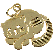 SALE 14K Sleeping Cat Kitten Kitty Charm/Pendant Yellow Gold
