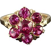 SALE 10K 2.00 CTW Created Pink Sapphire Cluster Ring Size 6.5 Yellow Gold