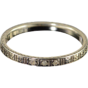 SALE 14K Vintage Diamond Impressed Wedding Band Ring Size 7 White Gold
