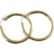 14K Large Hollow Hoop Earrings Yellow Gold
