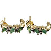 10K 0.79 CTW Emerald Diamond Half Hoop Earrings Yellow Gold