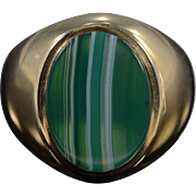 10K Vintage Banded 15x12mm Banded Green Agate Men's Ring - Size 8.5 / Yellow Gold
