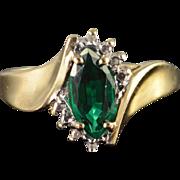 10K 1 CTW Green Glass & Diamond Ring Yellow Gold