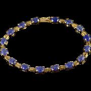 """14K Unique 7x5mm Blue Lapis Cabochon Tennis Bracelet 8"""" Yellow Gold"""