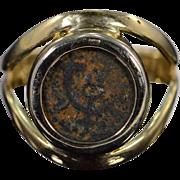 SALE 14K Ancient Roman Bezel set Coin Ring - Size 8 / Yellow Gold