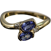 SALE 14K 0.79 Ctw Tanzanite & Diamonds Bypass Ring Size 7.75 Yellow Gold