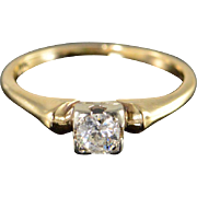 14K Antique 0.25 CT Old Mine Cut Diamond Solitaire Round Engagement Ring Size 3 ...
