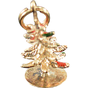 SALE 14K Vintage 3D Christmas Tree Charm/Pendant Yellow  Gold