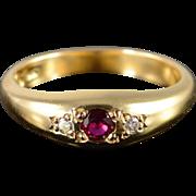 14K 0.18 CTW Ruby Diamond Inset Wedding Band Ring Size 6.25 Yellow Gold