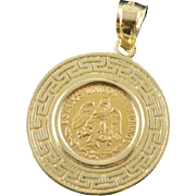 14K Mexican Mexico 2 Peso Coin 1945 Greek Key Bezel Pendant Yellow Gold