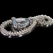 14K 0.60 Ctw Aquamarine Diamond Pendant White Gold
