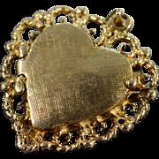 SALE 14K Filigree Photo Locket Pendant Yellow Gold