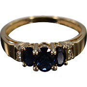 SALE 14K 1.19 Ctw Diamond Sapphire Graduated Ring Size 7.25 Yellow Gold