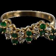 SALE 14K 0.45 Ctw Diamond Emerald Wavy Cluster Ring Size 5.5 Yellow Gold
