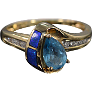 SALE 14K 1.10 Ctw Diamond Blue Topaz Black Opal Ring Size 7 Yellow Gold