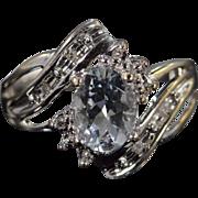 14K 1.25 CTW Aquamarine Diamond Ring - Size 6.75 / White Gold