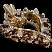 14K 0.35 CTW Diamond & Garnet Open Heart Pendant Yellow Gold