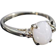 SALE 14K 1.78 CTW Cabochon Moonstone Diamond Ring - Size 7.25 / White Gold